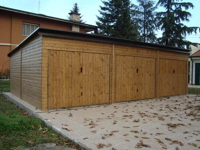 Garage in legno modello EBOX 3 posti auto